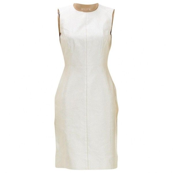 Pre-owned Versace Silk Mid-Length Dress ($400) ❤ liked on Polyvore featuring dresses, other, women clothing dresses, silk dress, silk cocktail dress, versace cocktail dresses, mid length dresses and mid length cocktail dresses