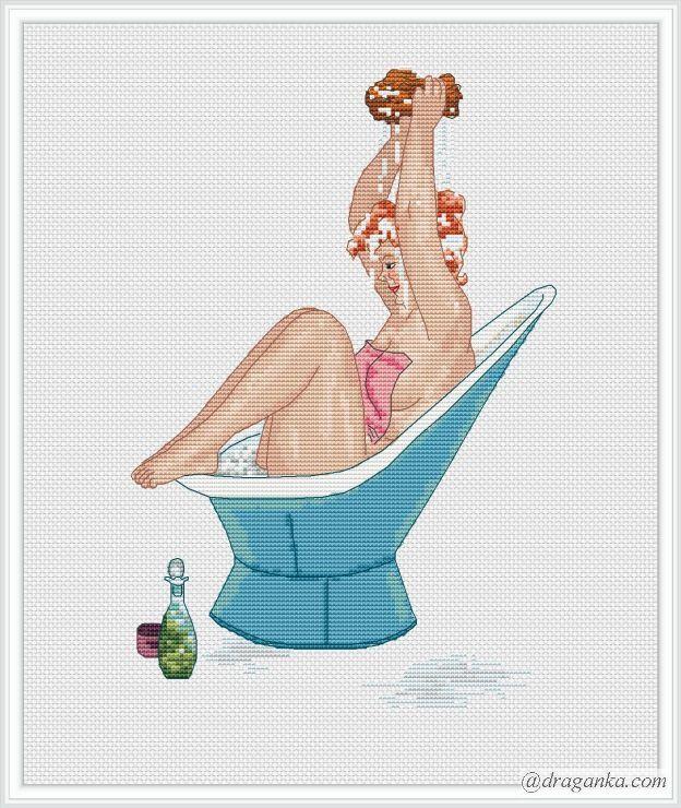 0 point de croix hilda rousse dans le bain et baignoire bleue - cross stitch red haired hilda taking a bath in a blue bath tub