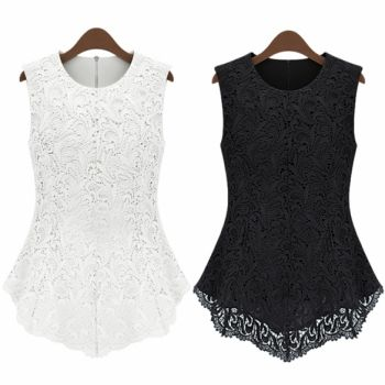 Women Slim Tank Lace Top Shirt Trendy Blouse Sleeveless