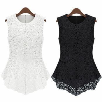 Women Slim Tank Lace Top Shirt Trendy Blouse Sleeveless