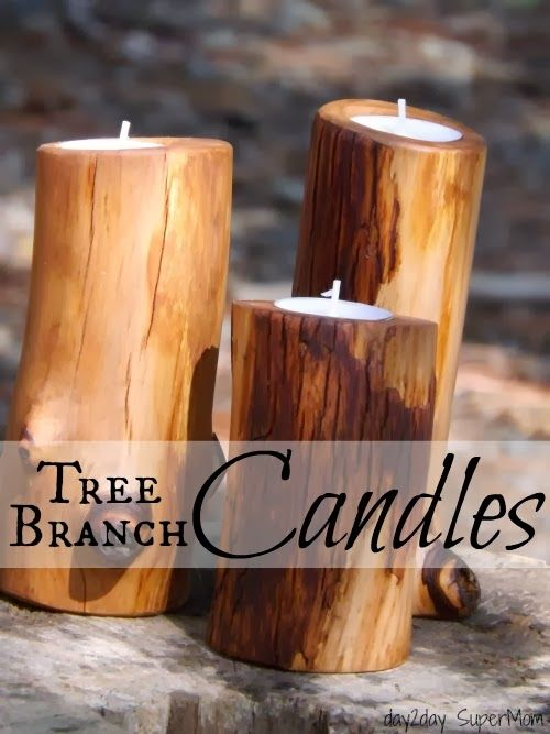 28 Craft Ideas For Dad   Tree Branch Candles Tutorial By Day2Day SuperMom  #candles #