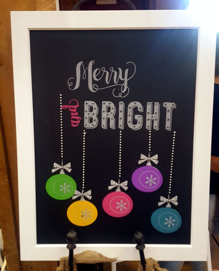 Chalk Couture - Merry & Bright {Chalk Transfer} combined with Retro Ornaments {Chalk Transfer} on a fun porcelain {chalkboard}. Everything is fun with glitter