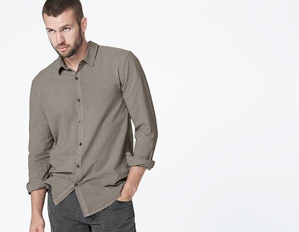 James Perse - Cotton lawn, stag pigment shirt