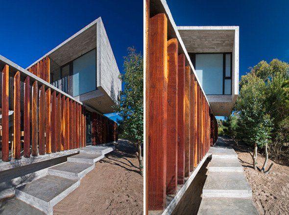 El diseño se centra alrededor de dos cajas de hormigón alargadas, vueltas…