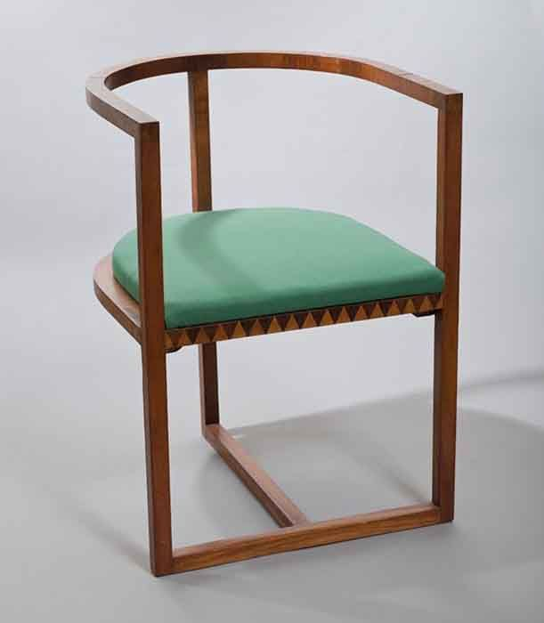 Karol Tichy, Armchair from bedroom furniture set, made in the workshop of Andrzej Sydor in Krakow, 1909