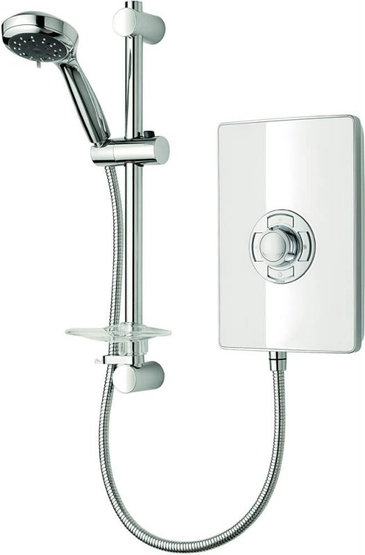 If your bathroom layout means you have to go for an electric shower dont dispare! You can still have a modern attractive design, check out these glass electric showers from Tritton:  Product image for Triton Aspirante Electric Shower - White Gloss  www.ukbathrooms.com