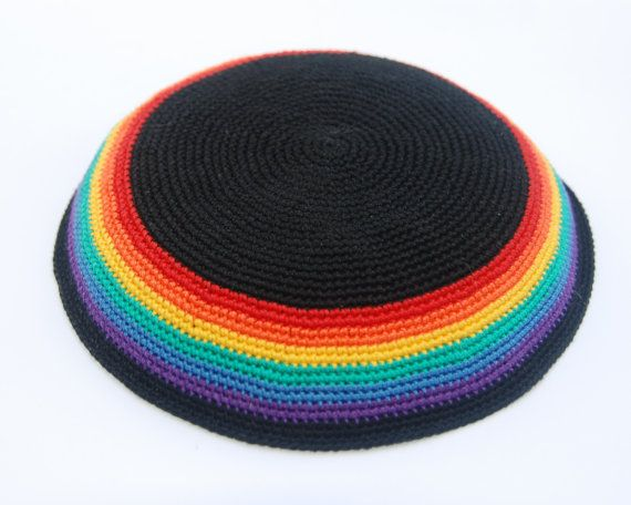 Rainbow / Pride crochet Kippah Yarmulke Handmade  by ShoshiStudio, $35.00 (Rachel- this made me think of your dad. TO)