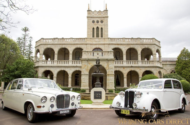 Dolly (1947) and Lucy (1968) our classic wedding cars looking fabulous at Curzon Hall, Sydney.