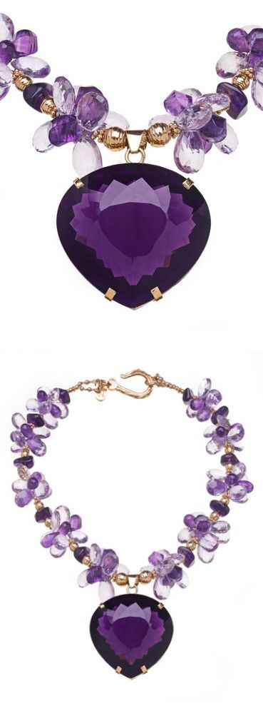 Deborah Liebman necklace: 191 Carat Amethyst Pendant with Purple and Pink Amethyst and 18K Gold