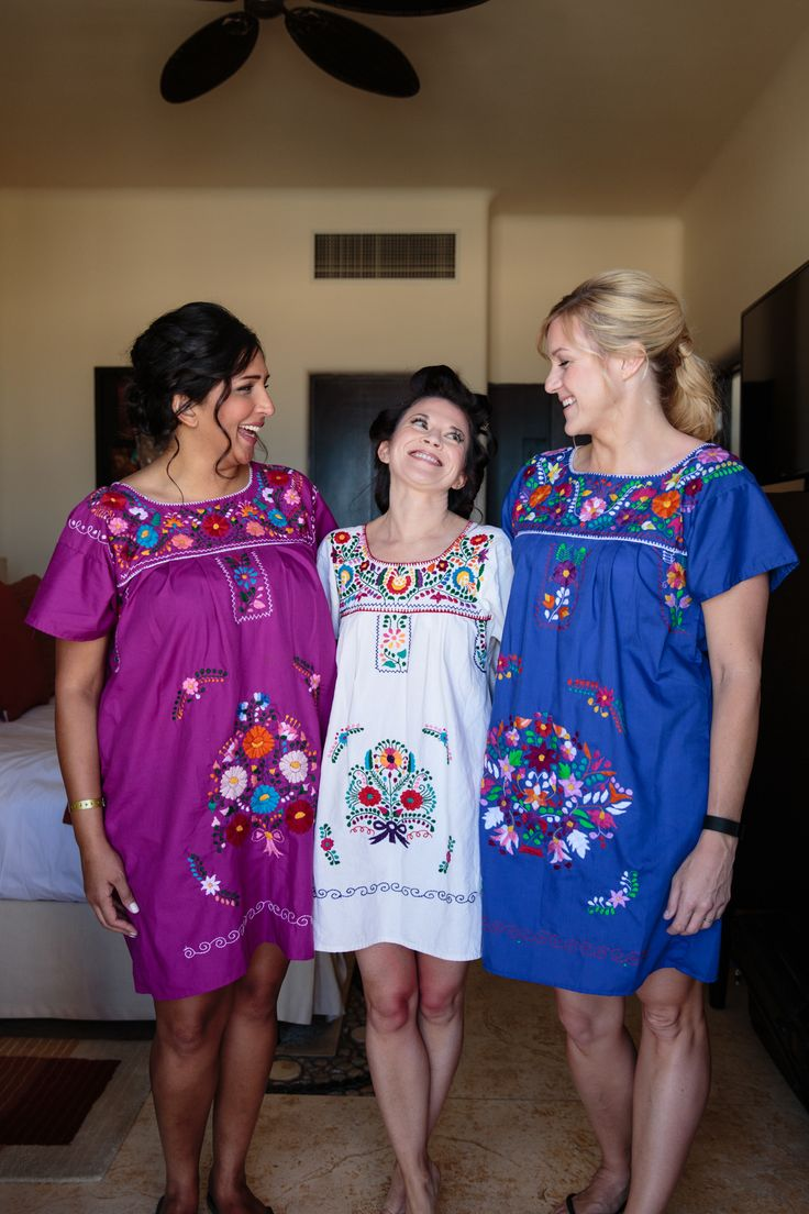 Traditional Mexican Dresses For Bridesmaids And Bride To Get Ready On.  Wedding