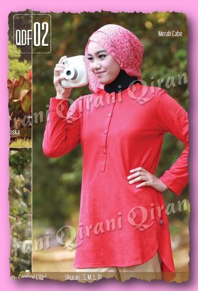 Qirani Fresh QDF-02 Merah Cabe  Model :    QDF-02 Merah Cabe  Qirani Fresh QDF-02 Merah Cabe  Harga : Rp 140.000,-  Size:  (S, M, L, XL)  Pilihan Warna :  Hijau Tosca, Hijau Muda, Merah cabe Bahan Combed 30S