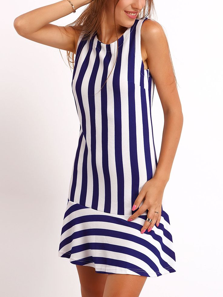 Shop Navy White Crew Neck Vertical Stripe Dress online. SheIn offers Navy White Crew Neck Vertical Stripe Dress & more to fit your fashionable needs.