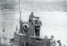 von Trapp on duty aboard SMU-5 circa 1918