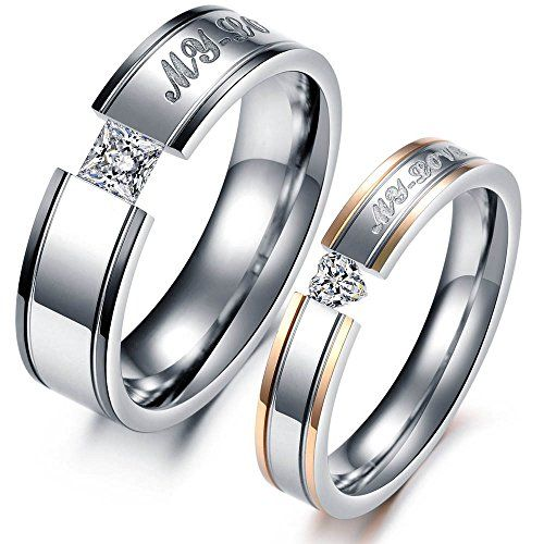 Noemigal Two Tone Promise Couple Rings Stainless Steel My Love Engraved Women and Men Bandswomens 6 -- To view further for this item, visit the image link.(This is an Amazon affiliate link and I receive a commission for the sales)