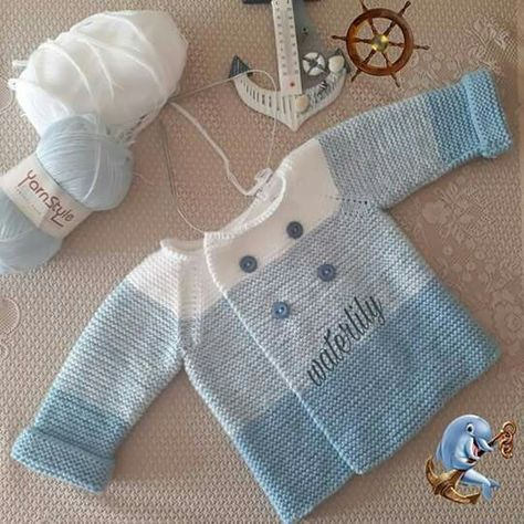 Knitting a baby sweater is the