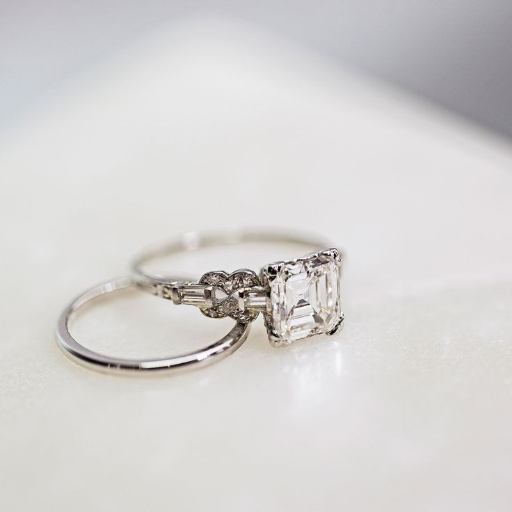 Vintage platinum Art Deco Asscher diamond engagement ring by Trumpet & Horn // Laurel Canyon // $33,250