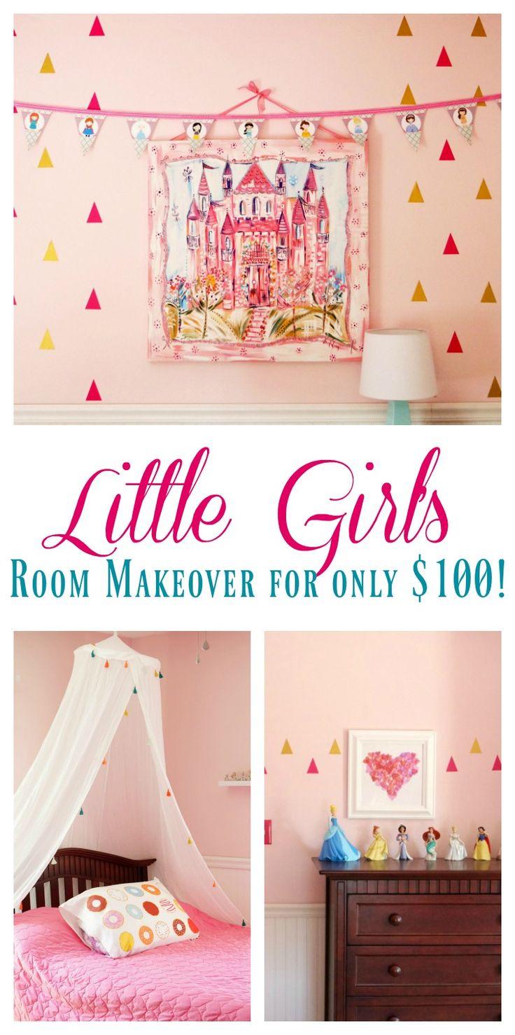 Little Girl's Room Makeover for Only $100! | $100 Room Challenge| Budget Room Makeover Reveal