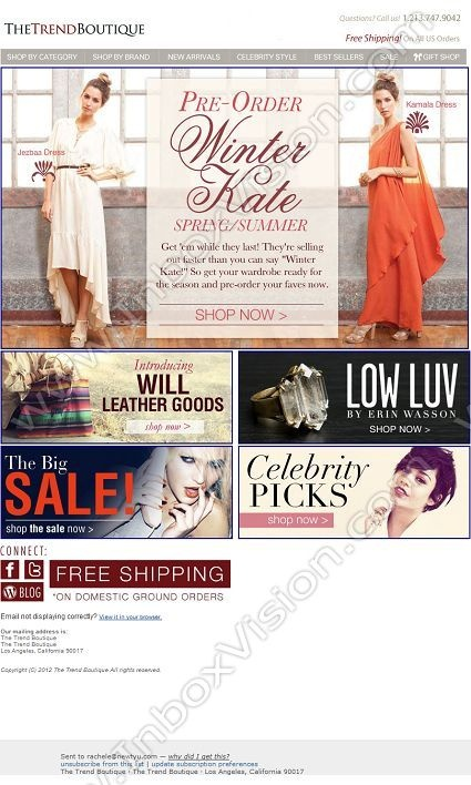 Company:  The Trend Boutique Subject:  Pre-Order Winter Kate Spring/Summer               INBOXVISION providing email design ideas and email marketing intelligence.    www.inboxvision.com/blog/  #EmailMarketing #DigitalMarketing #EmailDesign #EmailTemplate #InboxVision  #SocialMedia #EmailNewsletters