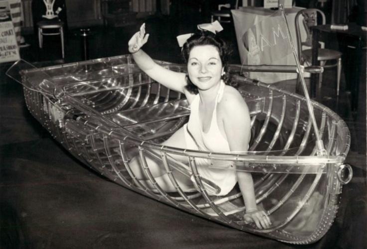vintage plastic rowboat