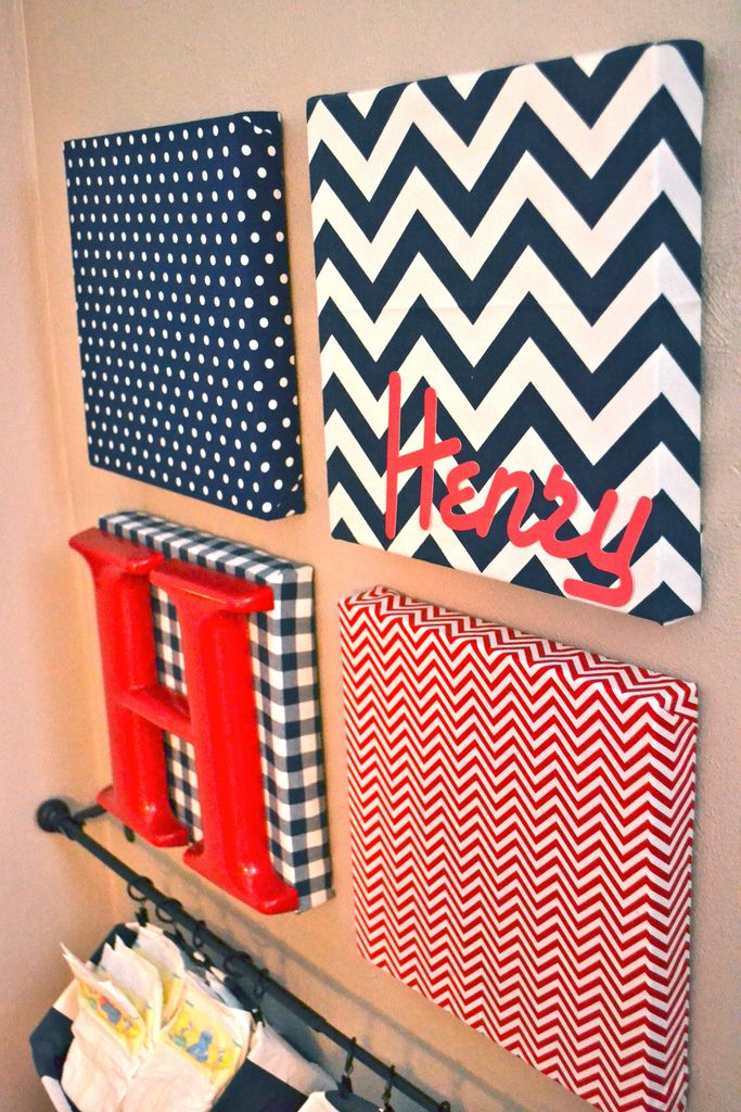 NewlyWoodwards: Fabric-covered canvas nursery art