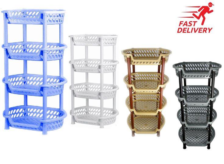 4 Tier Vegetable Rack Basket Fruit Rack Basket Holder Kicthen Storage Plastic   eBay