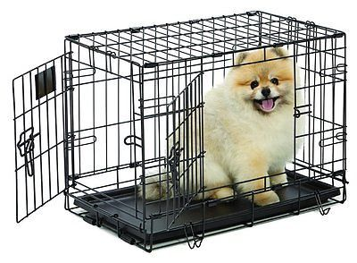 Dog Cage Pet Crate Travel Small Animal Kennel, Double Door, Folding Metal,22New