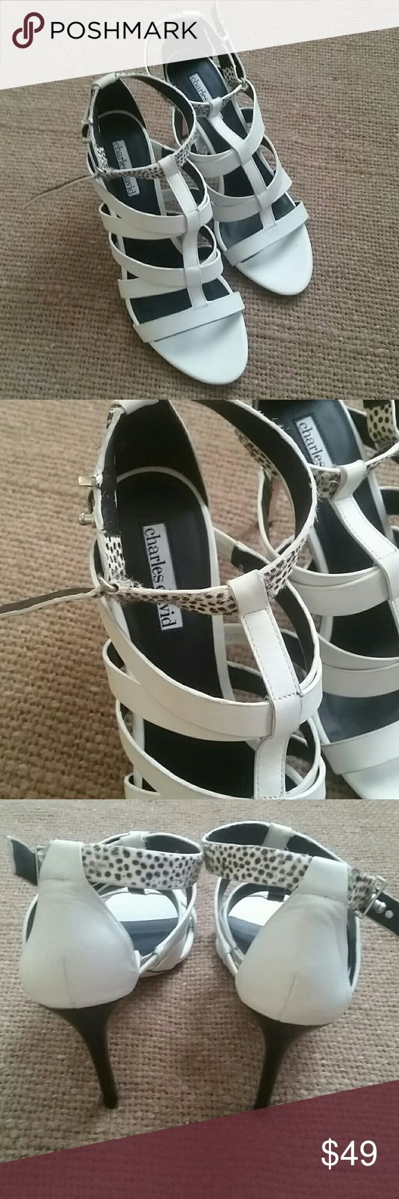 Charles  David  leather  strap sandals Pre owned  good condition, heels 3,8 in  without  issue,  sign  of use outsoles,real fur from calf on the strap color  off white Charles David Shoes Sandals