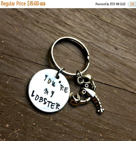 You're my lobster, Friends Quote, TV Quote, Hand Stamped Key Chain, Gifts for Him, Anniversary Gifts For Him, Couple Jewelry, Lobster Charm