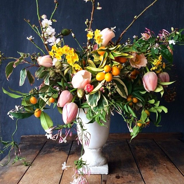 The lady who received this for her birthday yesterday called me and told me that it looked like an arrangement out of a Dutch painting! This is probably one of the best compliments I have ever received, I'm honored! | Kiana Underwood | tulipina.com
