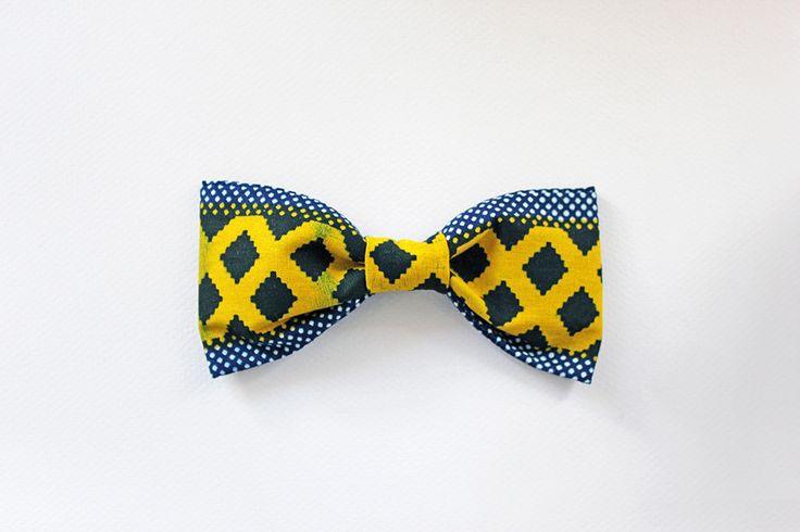 Noeud papillon africain en tissu wax - ANH attache cou réglable : Echarpe, foulard, cravate par keniani