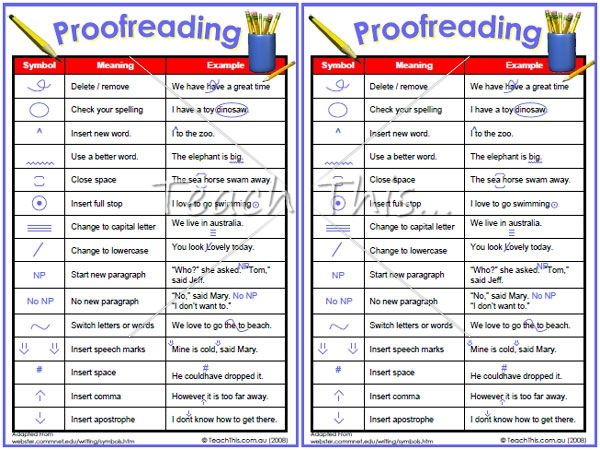 Online proofreading and editing marks elementary school