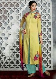 Party Wear Yellow Cotton Satin Embroidered Work Plazzo