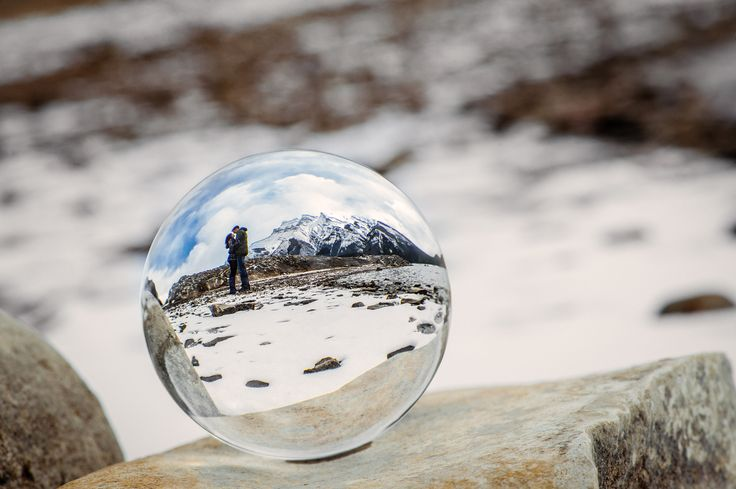 Reflection in the crystal ball from e-session at Lake Minnewanka near Banff