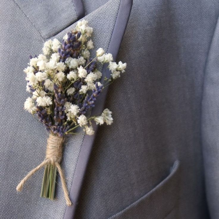 Tiny pretty Lavender and Gypsophila buttonhole tied with twine.....perfect !