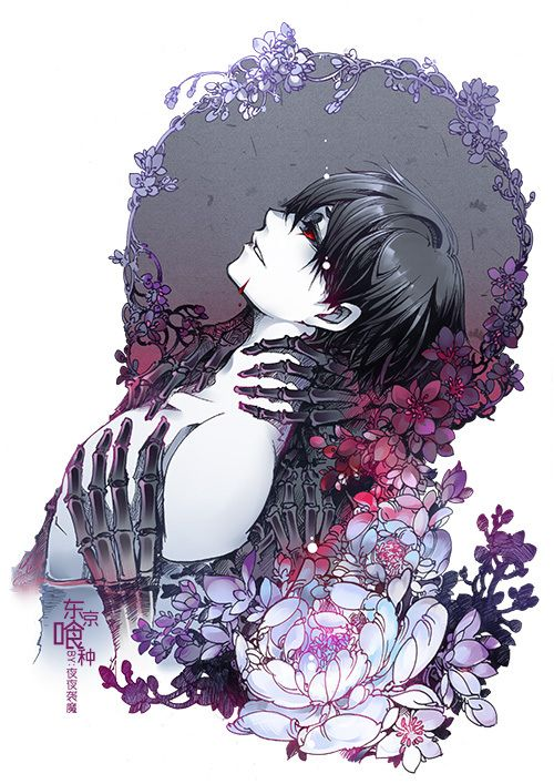 I think it's Kaneki Ken ~Tokyo Ghoul Anime guy with eh black hair and darkness and roses or whatever