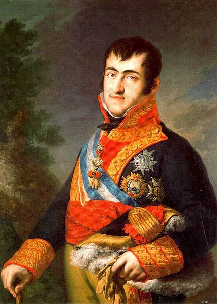 "Ferdinand VII (14 October 1784 – 29 September 1833) was twice King of Spain: in 1808 and from 1813 to 1833 – the latter period in dispute with Joseph Bonaparte. He was known as ""Ferdinand the Desired"" or ""The felon king"". His second wife, Maria Isabel of Portugal, persuaded him to create a royal museum which would house the royal collections."
