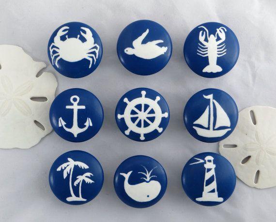 Nautical Drawer Knob Custom Ocean Drawer Knob by VioletValeDesigns
