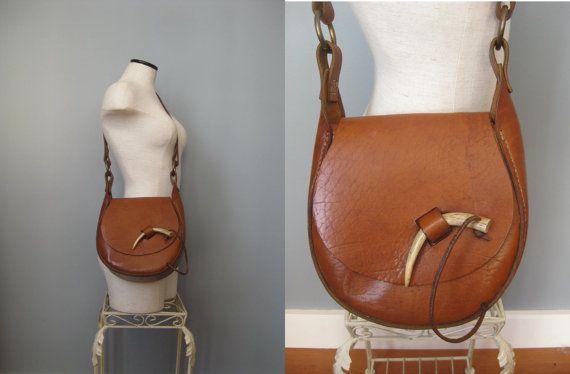 Antler Bag / Vtg 70s / Leather Shoulder Bag by EmotionalOutletShop