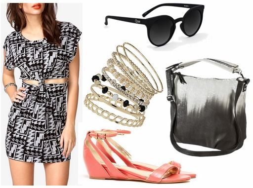 Forever 21 geometric print dress, coral sandals, ombre bag, bangles