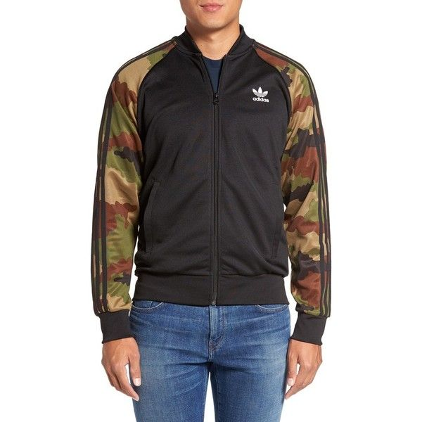 Men's Adidas Originals 'Essential' Camo-Sleeve Track Jacket ($37) ❤ liked on Polyvore featuring men's fashion, men's clothing, men's activewear, men's activewear jackets, black, mens track tops, mens track jacket and mens activewear