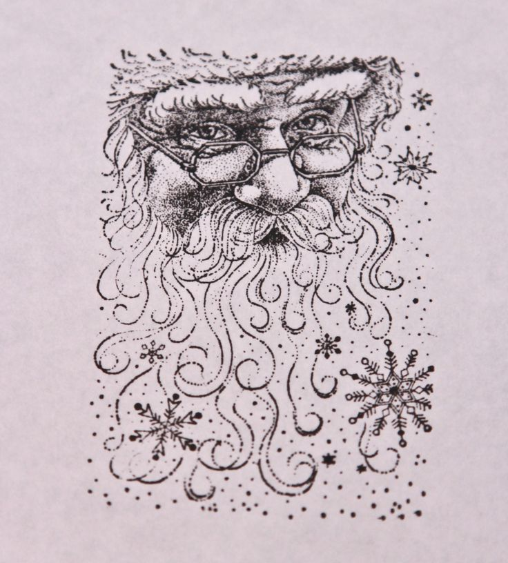 Santa Claus envelope stamp available in red, green or black.