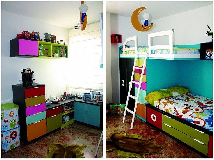 Habitaci n juvenil con una cama tren que incluye dos camas - Habitacion dos ninos ...