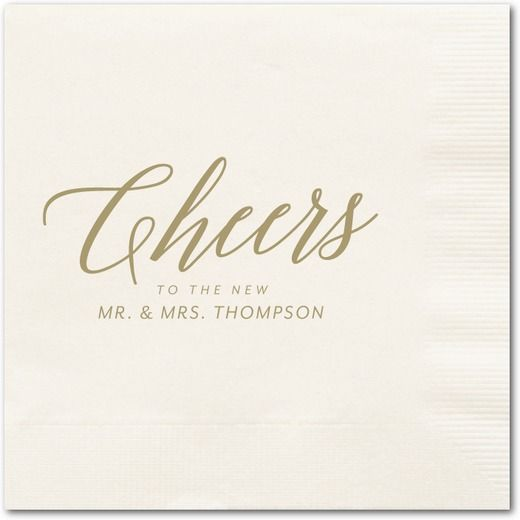 Hearty Clink - Personalized Wedding Napkins - Magnolia Press - Ecru Napkin - Neutral : Front