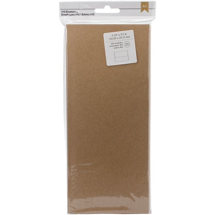 "American Crafts #10 Envelopes (4.125""X9.5"") 25/Pkg-Kraft - kraft"