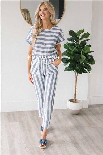 d91f1053a7 Dusty Navy Striped Jumpsuit in 2019