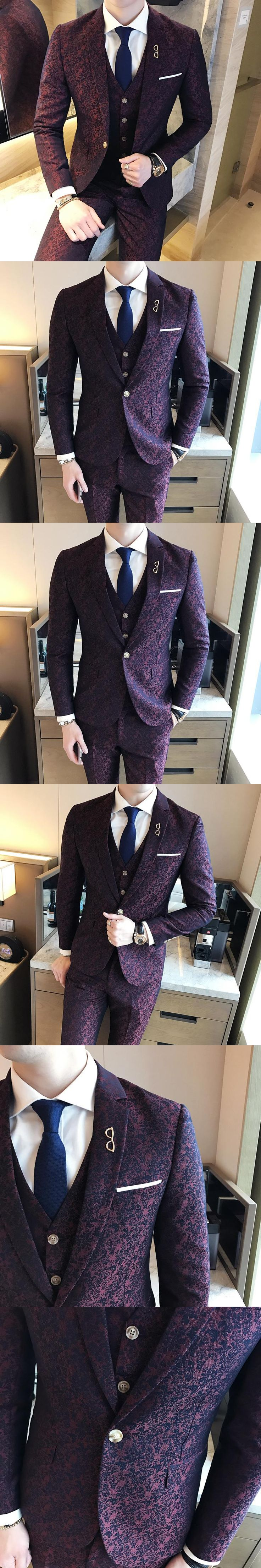 Mens Wedding Suits 2017 Burgundy Suits Mens Social Club Red Mens Purple Suits Slim fit 3 Piece Dyed Print British Style Terno