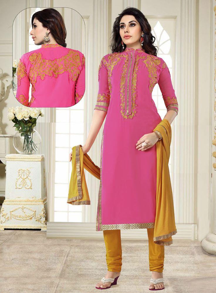 Pink Cotton Churidar Salwar Suit 89033