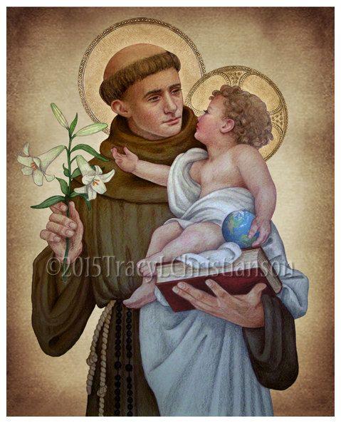 St. Anthony of Padua B Print Catholic Art by PortraitsofSaints