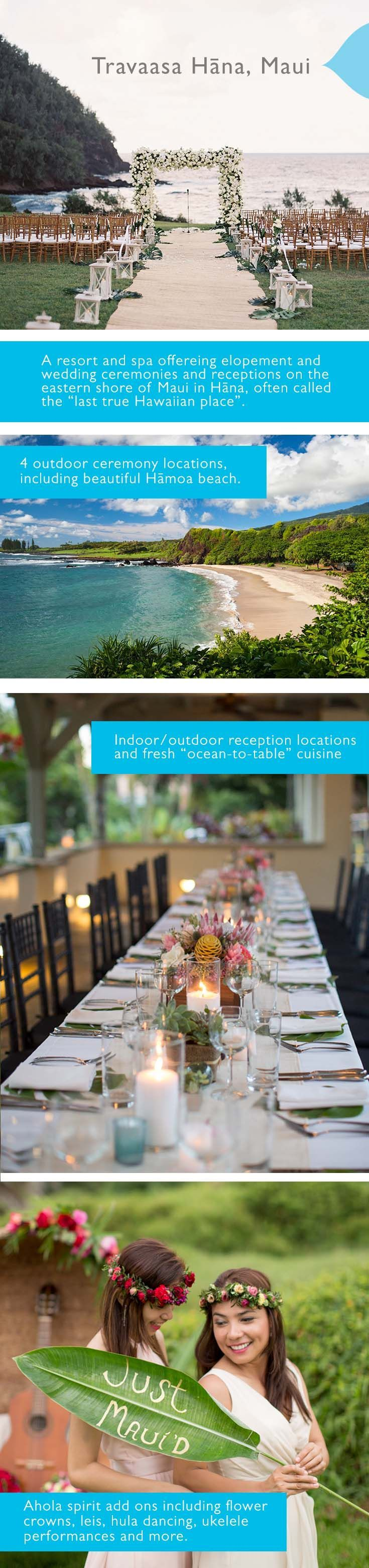 Travaasa Hana, Maui is a full-service resort wedding venue in Hana, Maui, Hawaii. From intimate elopement ceremonies to grand luau wedding celebrations, the lush tropical landscape, pristine beaches, and authentic aloha spirit make Travaasa an ideal venue for a magical Hawaii wedding. Photos courtesy of josevilla.com & http://kauaweddingphotography.com/