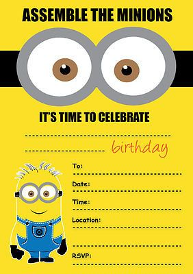 DESPICABLE ME MINIONS PARTY INVITATIONS KIDS CHILDREN'S INVITES BIRTHDAY A5